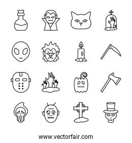 Halloween line style collection of icons vector design