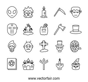 Halloween line style bundle of icons vector design