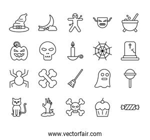 Halloween line style icons bundle vector design