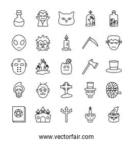 Halloween line style icons group vector design