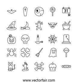 Halloween line style symbols set vector design