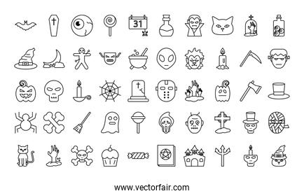 Halloween line style 50 icon set vector design
