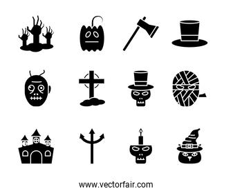 Halloween silhouette style set icons vector design