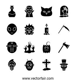 Halloween silhouette style collection of icons vector design