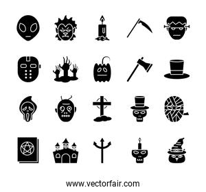 Halloween silhouette style bundle of icons vector design