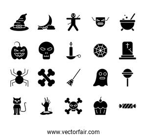Halloween silhouette style icons bundle vector design