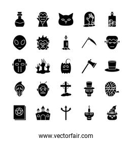 Halloween silhouette style icons group vector design