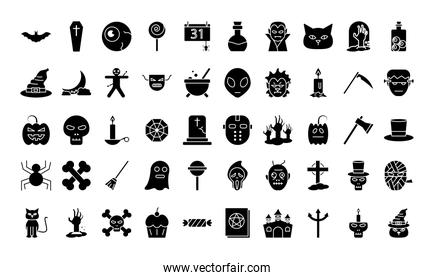 Halloween silhouette style 50 icon set vector design