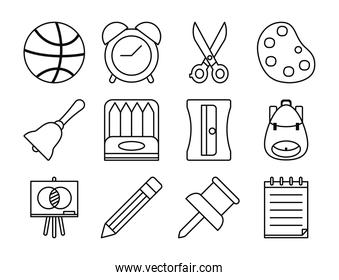 basketball ball and school icon set, line style