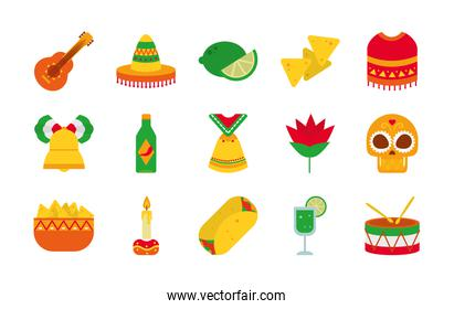 icon set of mexican and sugar skull, flat style