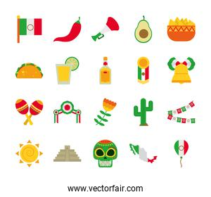 sugar skull and mexico icon set, flat style