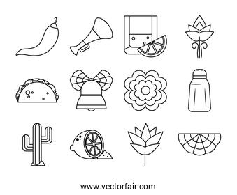 flowers and mexico icon set, line style