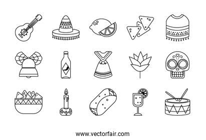 icon set of mexican and sugar skull, line style