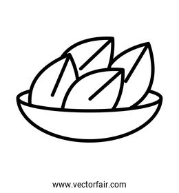 happy diwali india festival, deepavali religion event traditional food in bowl line style icon vector