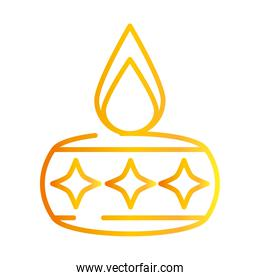 happy diwali india festival, lamp with candle and stars decoration, deepavali religion event gradient style icon vector