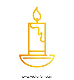 happy diwali india festival, candle in chandelier decoration, deepavali religion event gradient style icon vector