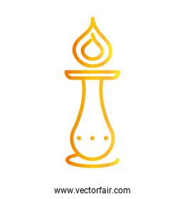 happy diwali india festival, chandelier with candle flame deepavali religion event gradient style icon vector