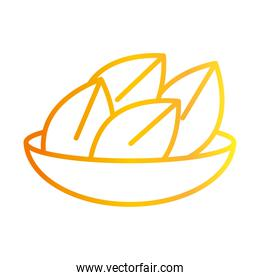 happy diwali india festival, deepavali religion event traditional food in bowl gradient style icon vector