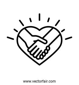handshake in heart love human rights day, line icon design