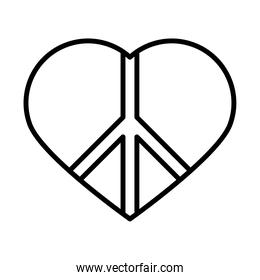 peace symbol in heart love human rights day, line icon design