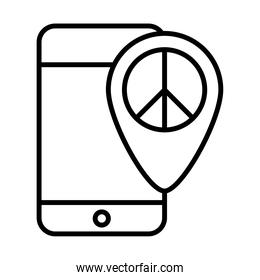 smartphone peace location pin app, human rights day, line icon design