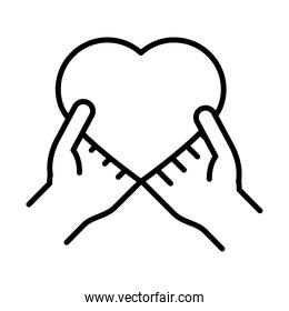 hands holding heart, human rights day, line icon design
