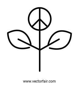 plant leaves peace, human rights day, line icon design