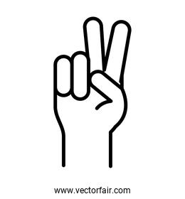 hand peace and love gesture, human rights day, line icon design