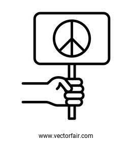 hand with peace placard, human rights day, line icon design