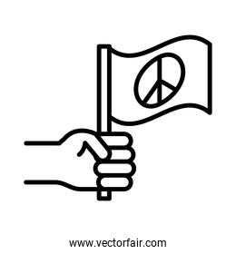 hand with flag peace, human rights day, line icon design