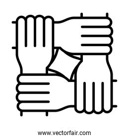 four hands equality, human rights day, line icon design