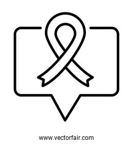 ribbon speech bubble message, human rights day, line icon design
