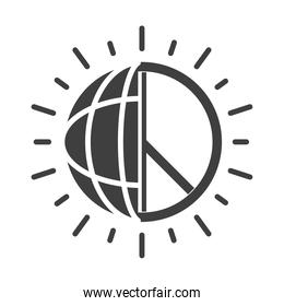 world and peace sign, human rights day, silhouette icon design