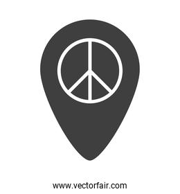 location pointer peace sign human rights day, silhouette icon design