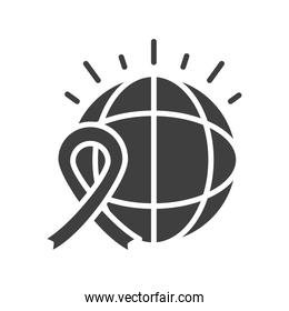 world ribbon campaign human rights day, silhouette icon design