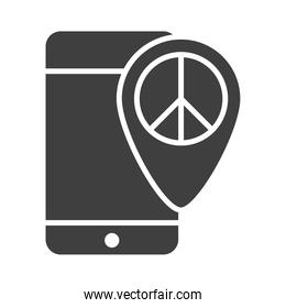 smartphone peace location pin app, human rights day, silhouette icon design