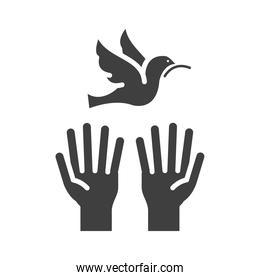 hands and dove with olive branch human rights day, silhouette icon design
