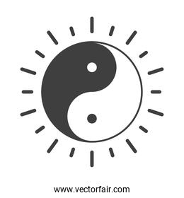 ying yang symbol of harmony and balance, human rights day, silhouette icon design