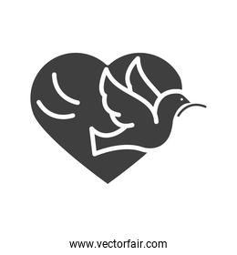 pigeon with branch heart love, human rights day, silhouette icon design