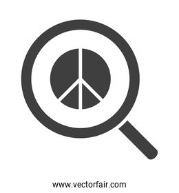 magnifier peace sign, human rights day, silhouette icon design
