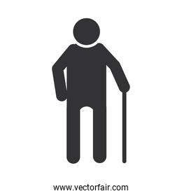 old man with walk stick, world disability day, silhouette icon design