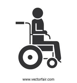 disabled person in wheelchair, world disability day, silhouette icon design