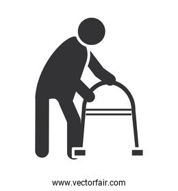 disabled person with walker, world disability day, silhouette icon design