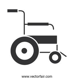 medical wheelchair equipment, world disability day, silhouette icon design
