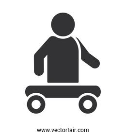 person without legs sitting in cart, world disability day, silhouette icon design