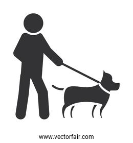 blind person walking with dog, world disability day, silhouette icon design