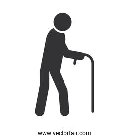 disabled person walking with cane, world disability day, silhouette icon design