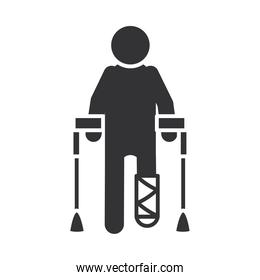 person with crutches and leg cast, world disability day, silhouette icon design