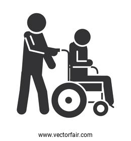 person carries a disabled in a wheelchair, world disability day, silhouette icon design