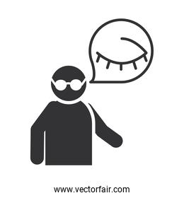 blind person with glasses, world disability day, silhouette icon design